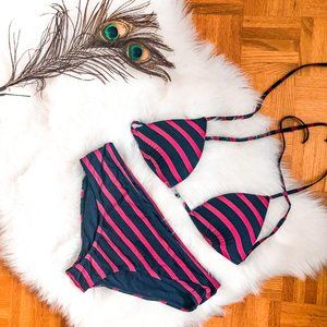 Red and Navy Striped Garage Bathing Suit Set